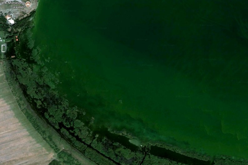 Aerial view shows huge green areas covered by water near Hayravank Monastery
