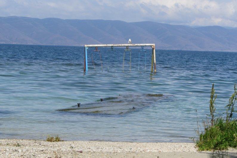 Noy Land. Children's playground sank in lake