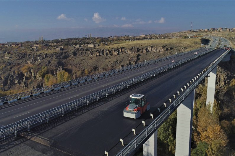 Asphalt pavement of Ashtarak Bridge